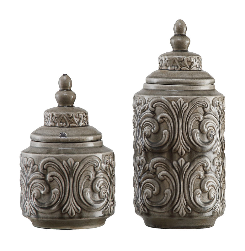 Gray Canisters, Set of 2