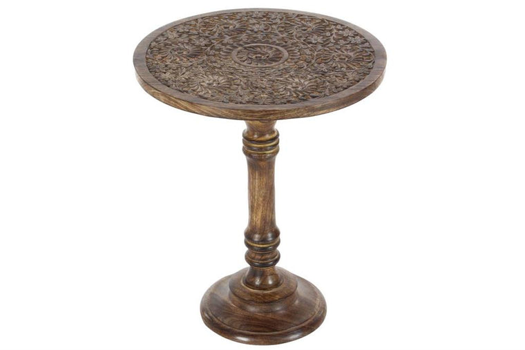 Wood Carved Round Accent Table