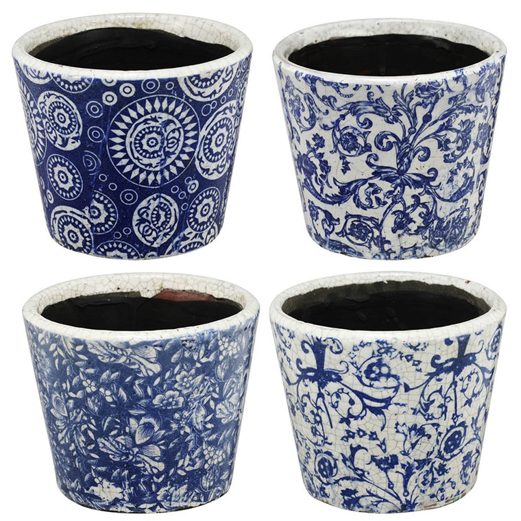 Blue Patterned Small Planters (Various Styles)