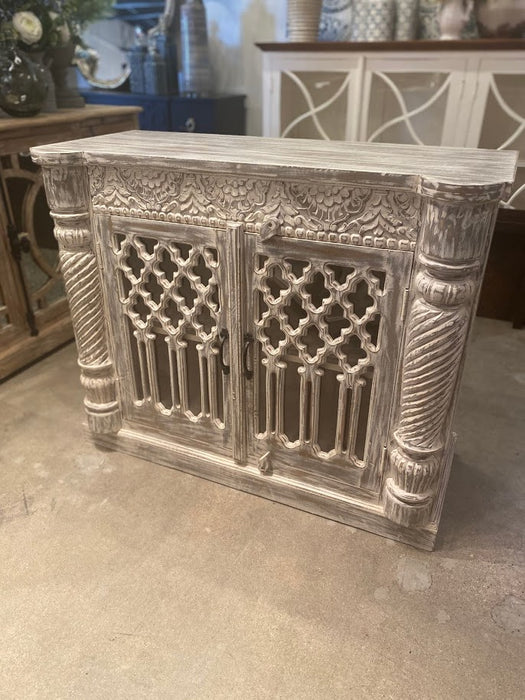 Gray Wash Carved Chest 42x34x18