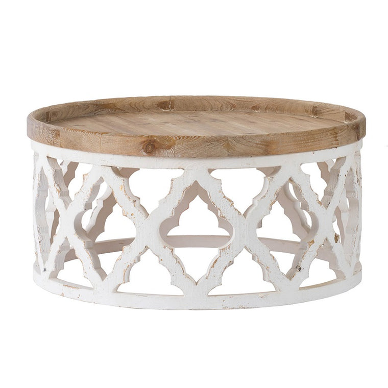 White & Natural Wood Coffee Table