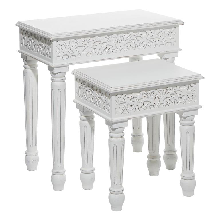 White Wood Nesting Tables, Set of 2
