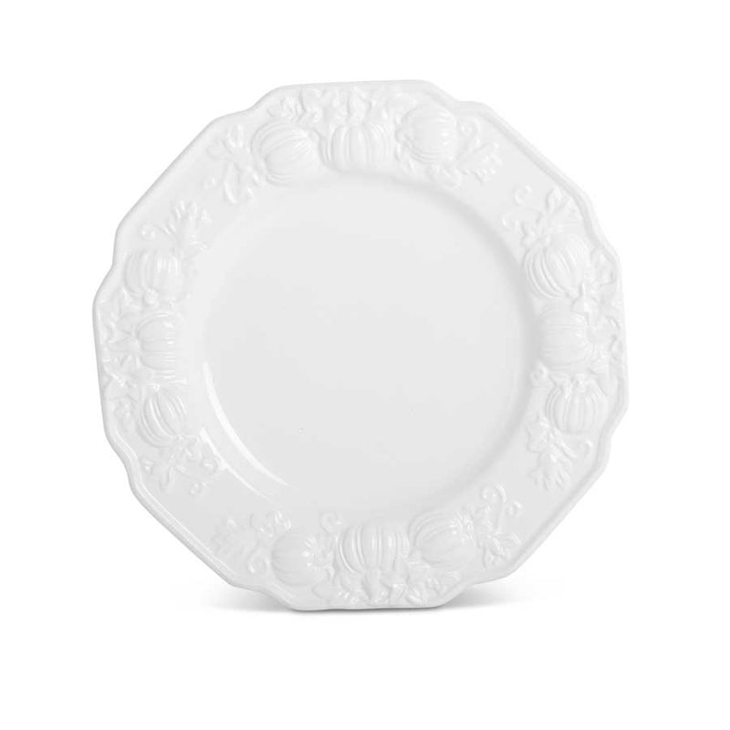White Dolomite Dinner Plate with Embossed Pumpkins