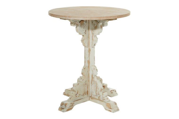 Wood Round White Table