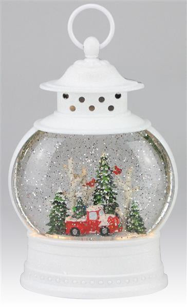 White Snow Globe Lantern with Truck and Tree