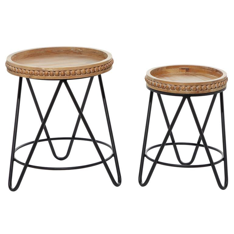 Beaded Wood and Metal Accent Table (Various Sizes)