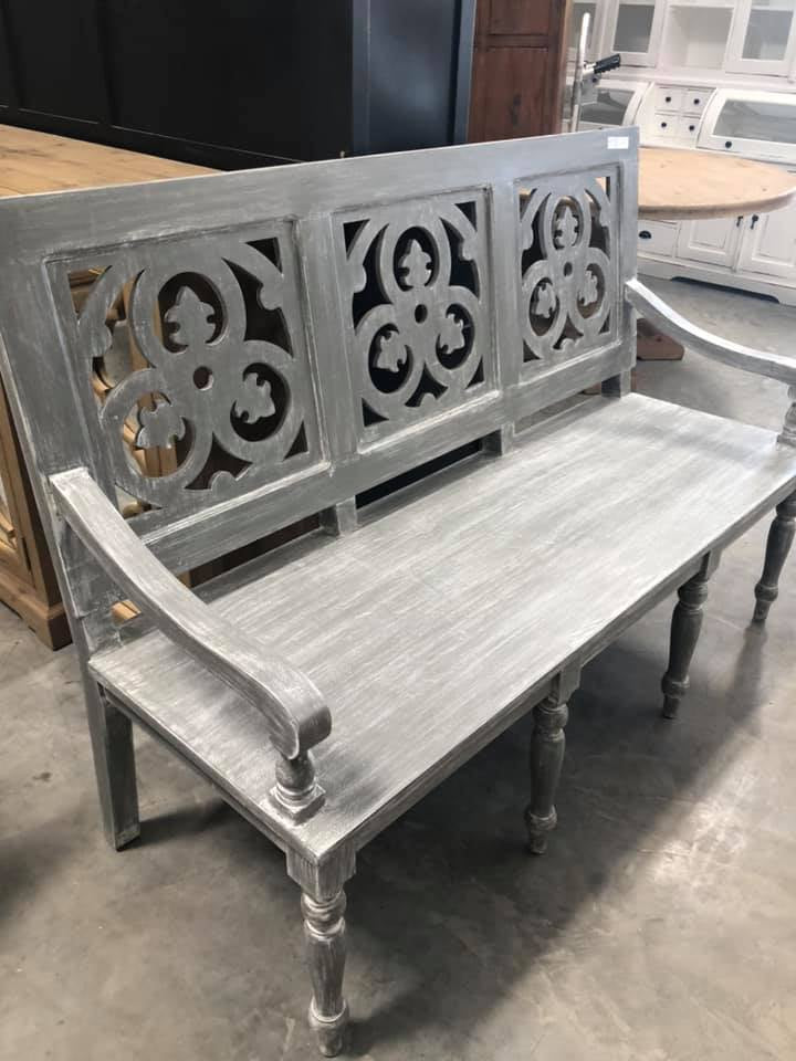 Gray Carved Cathedral Bench