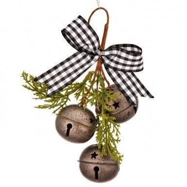 Bells with Black and White Check Ribbon Ornament