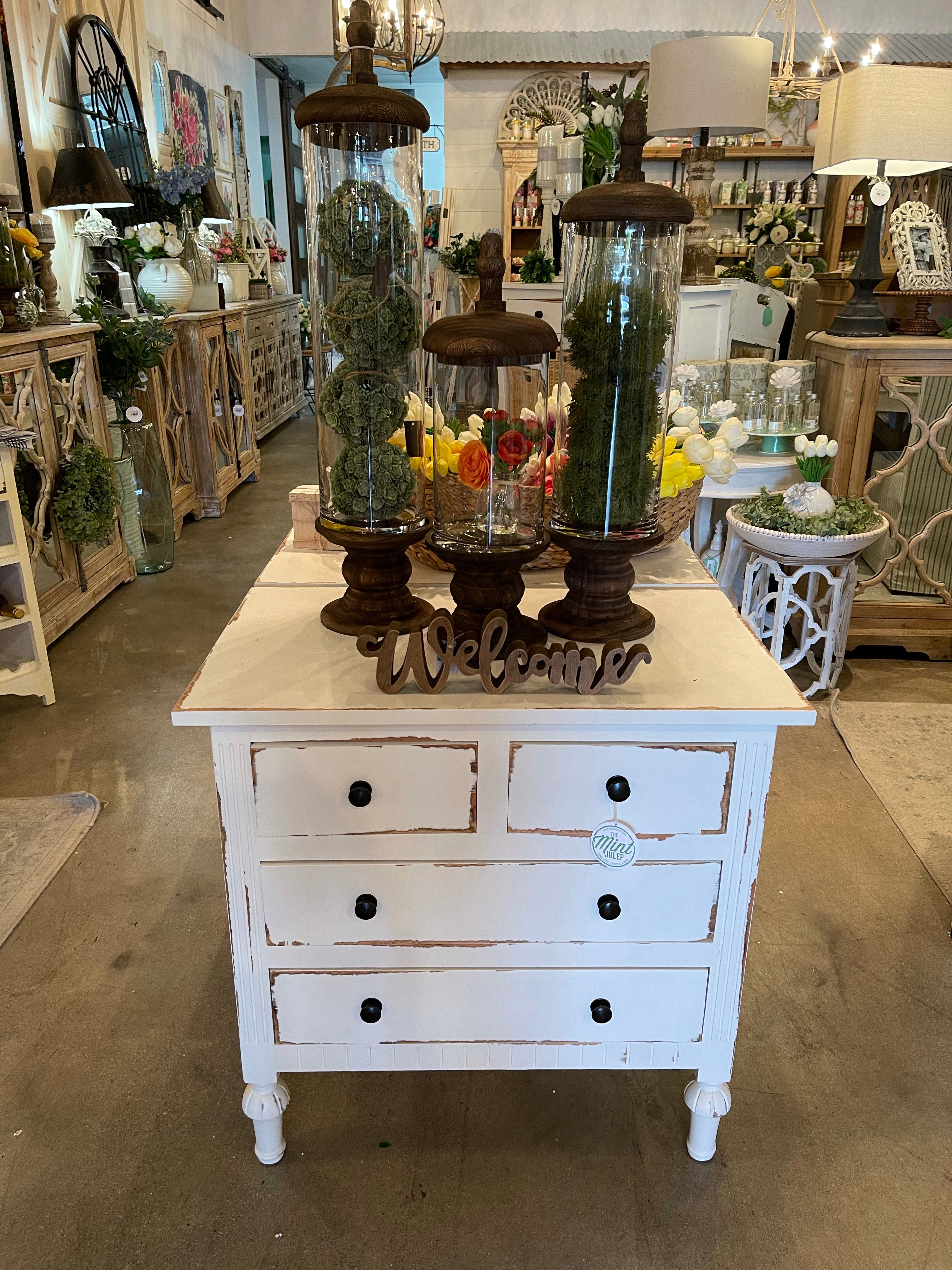 White Distressed Nightstand