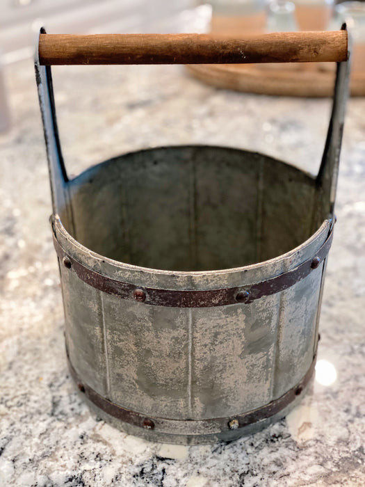 Metal Bucket with Wooden Handle