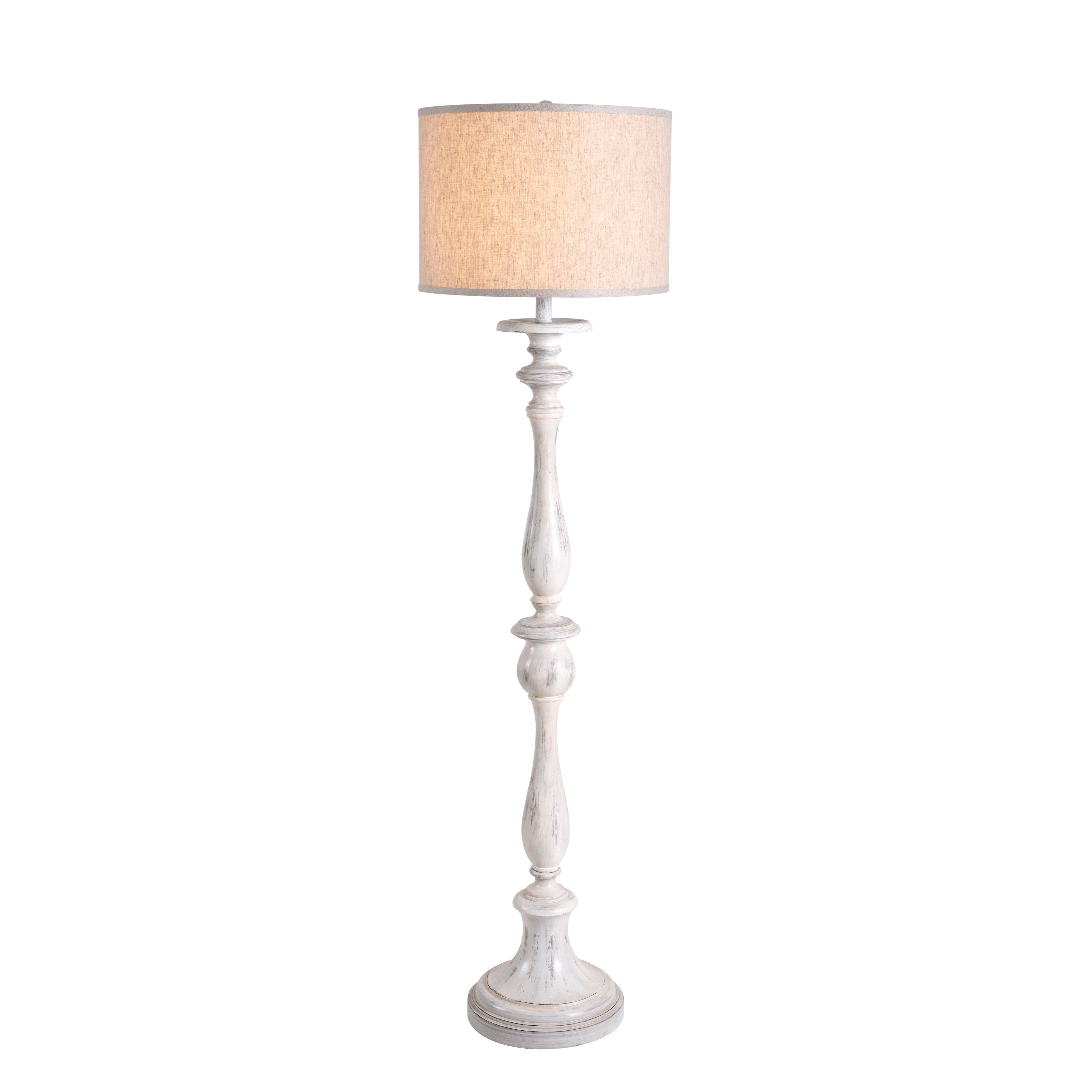 Distressed Off White Floor Lamp