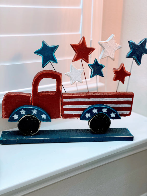Red White & Blue Wooden Truck