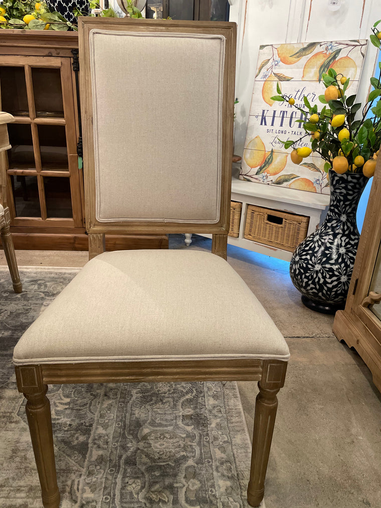 Square Back Wood & Linen Chair