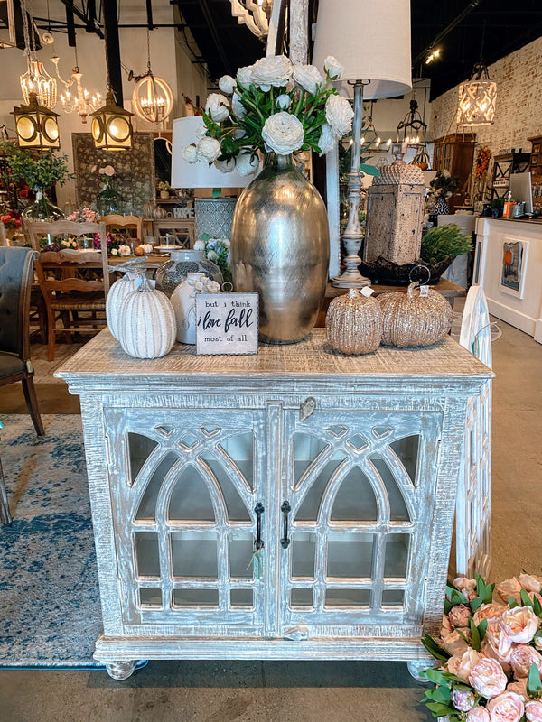 2 Door Cathedral Glass Door Console