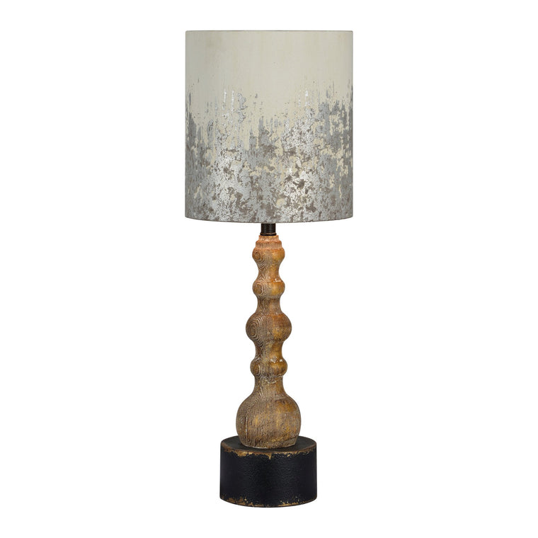 Wood Table Lamp with White Metallic Shade