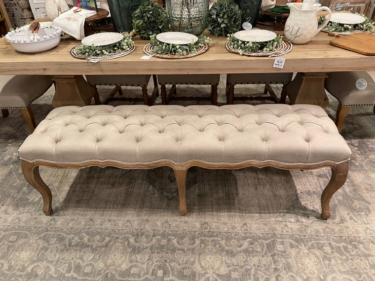 French Tufted Linen Upholstered Bench