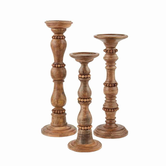 Beaded Wooden Candlesticks, Set of 3