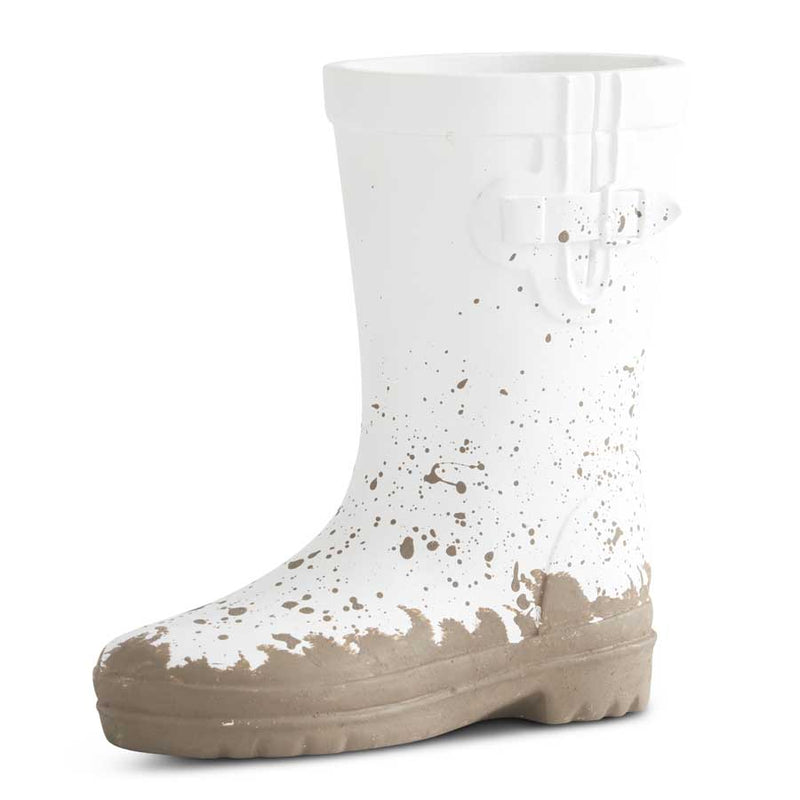 White Resin Rainboot Planter, Medium