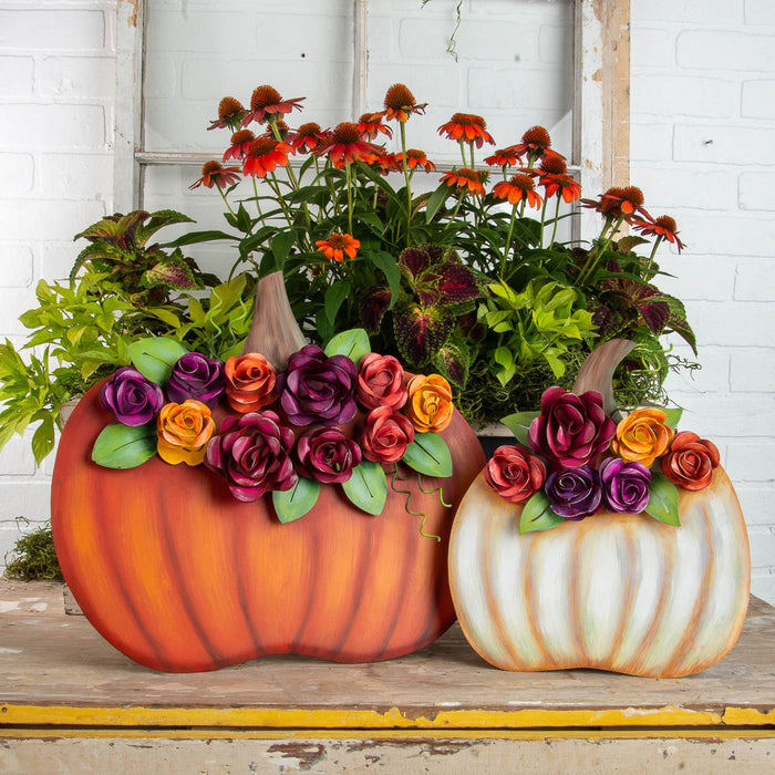 Orange Pumpkin with Roses