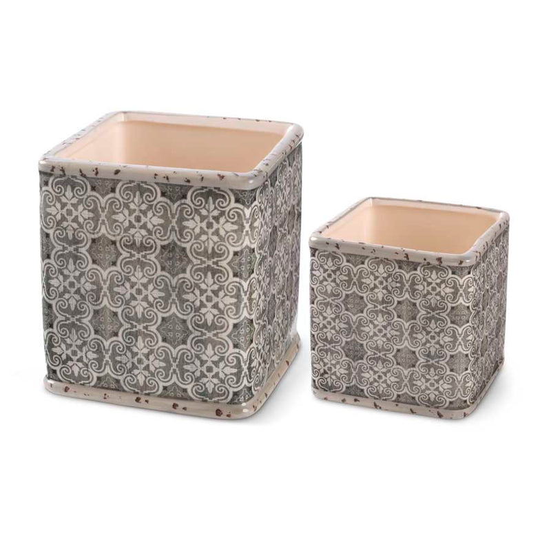 Square Ceramic Pots with a Vintage Stenciled Pattern