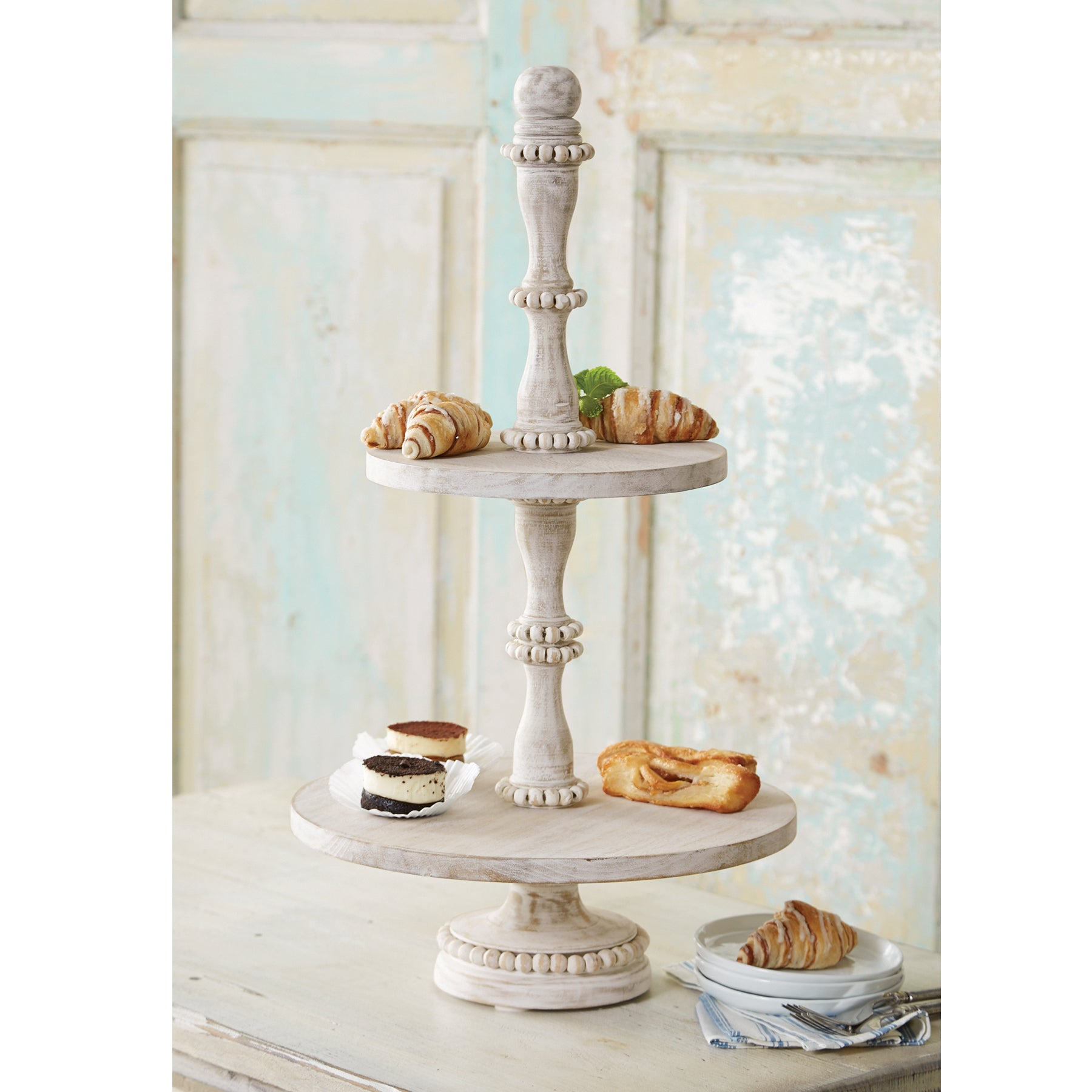 Beaded Wood Tiered Tray