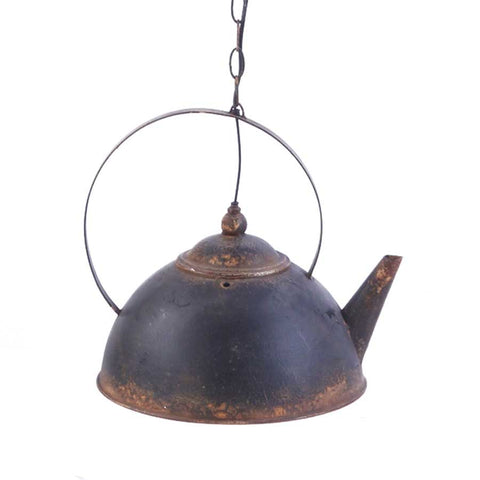 Black Metal Rustic Teapot Light Fixture
