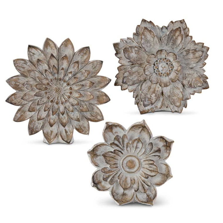 Carved Resin Tabletop Flowers (Various Sizes)