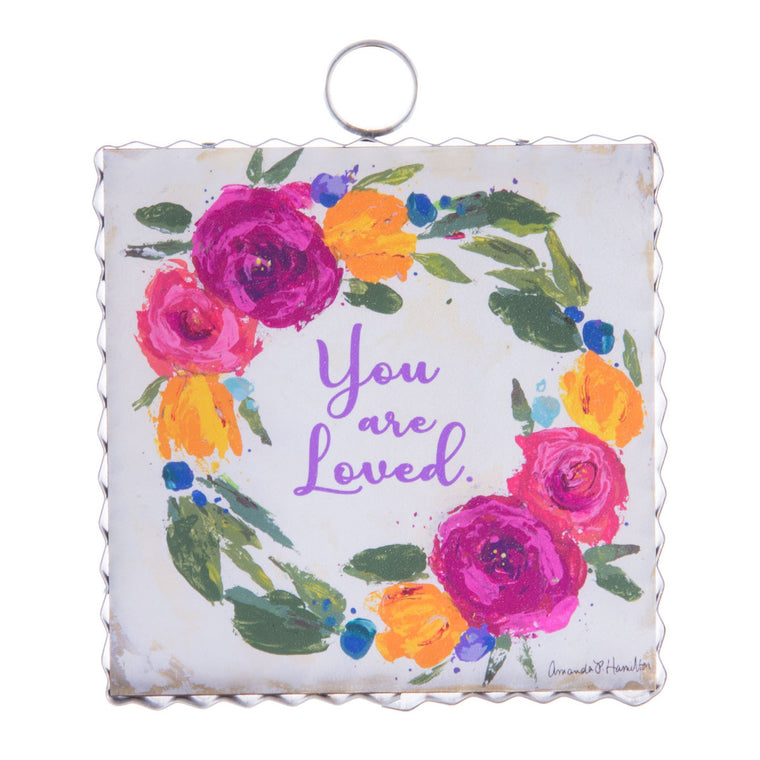 You are Loved Floral Wreath Mini Gallery Print