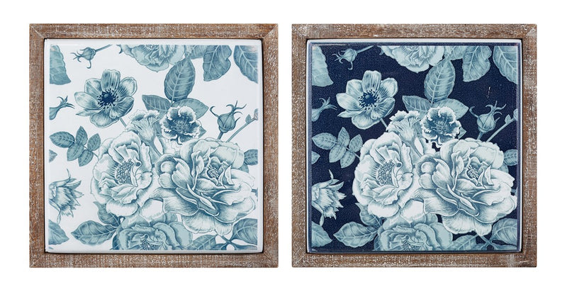 Framed Blue Floral Wall Decor