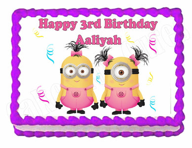 Despicable Me Minions in Pink Edible Cake Image Cake Topper - Cakes For Cures