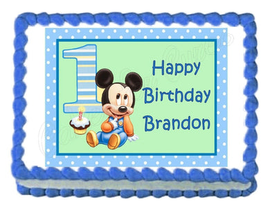 Mickey Mouse 1st Birthday Edible Cake Image Cake Topper - Cakes For Cures