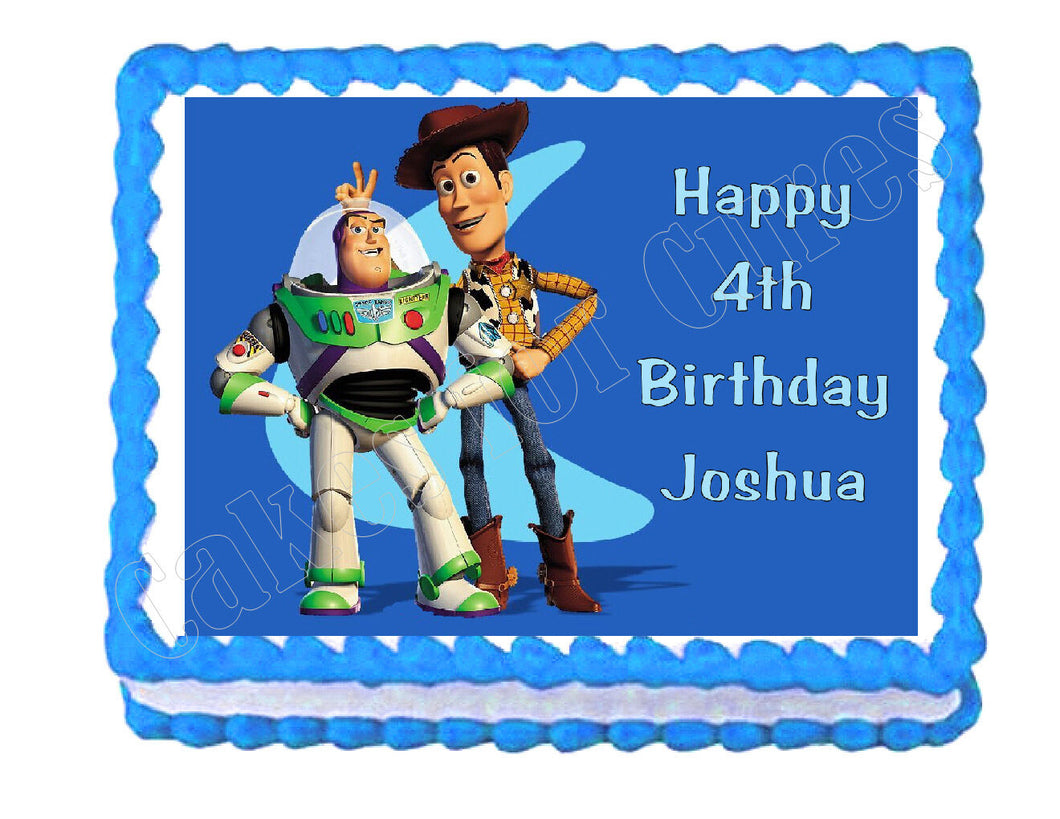 Buzz Lightyear and Woody Toy Story edible cake topper frosting sheet decoration - Cakes For Cures