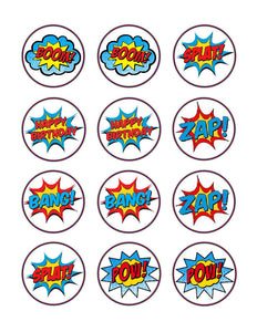Superhero Super Hero Words Pop Bam Edible Cupcake Images Cupcake Toppers - Cakes For Cures