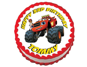 Blaze and the Monster Machines Round Edible Cake Image Cake Topper - Cakes For Cures