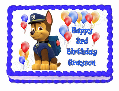 Paw Patrol Chase Edible Cake Image Cake Topper - Cakes For Cures