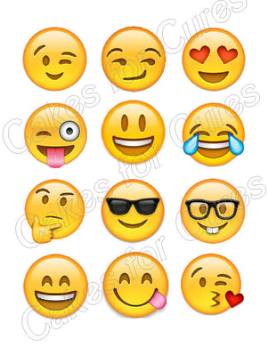 Emoji Emoticon Edible Cupcake Images - Cupcake Toppers - Cakes For Cures