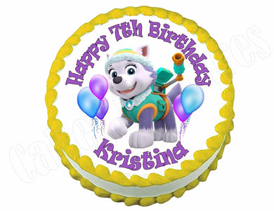 Paw Patrol Everest Round Edible Cake Image Cake Topper - Cakes For Cures