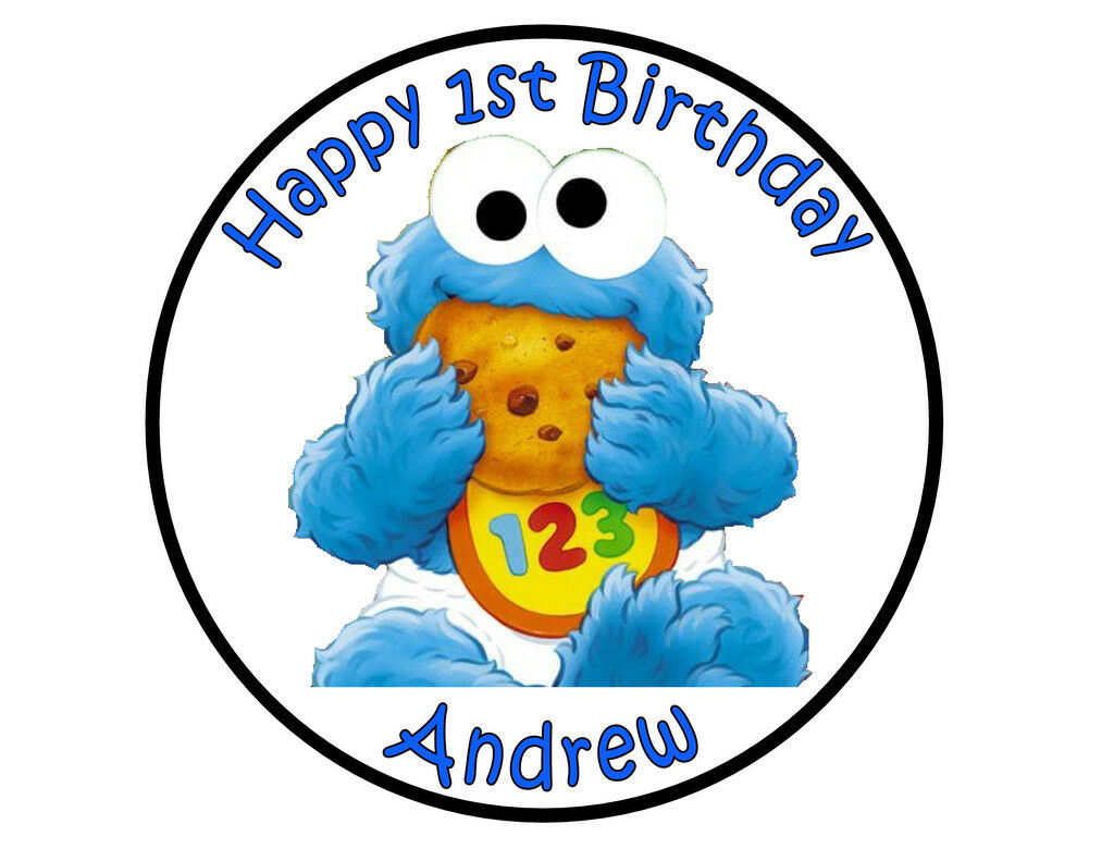 Cookie Monster Baby Sesame Street round party cake topper edible cake image - Cakes For Cures