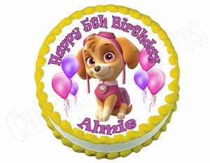 Paw Patrol Skye Round Edible Cake Image Cake Topper - Cakes For Cures