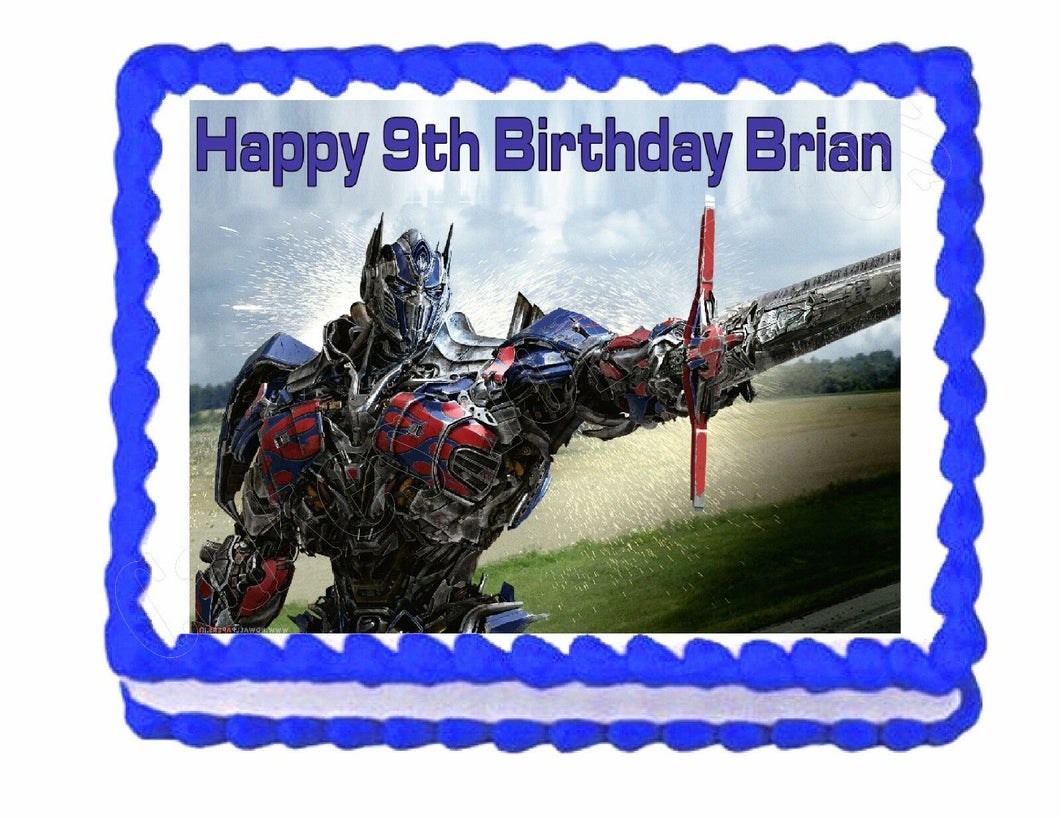 Transformers Optimus Prime edible party cake topper cake image sheet decoration - Cakes For Cures
