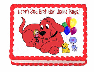 Marvelous Clifford The Big Red Dog Party Cake Image Frosting Sheet Personalised Birthday Cards Petedlily Jamesorg