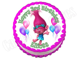 Trolls Poppy party decoration round edible party cake topper cake image - Cakes For Cures