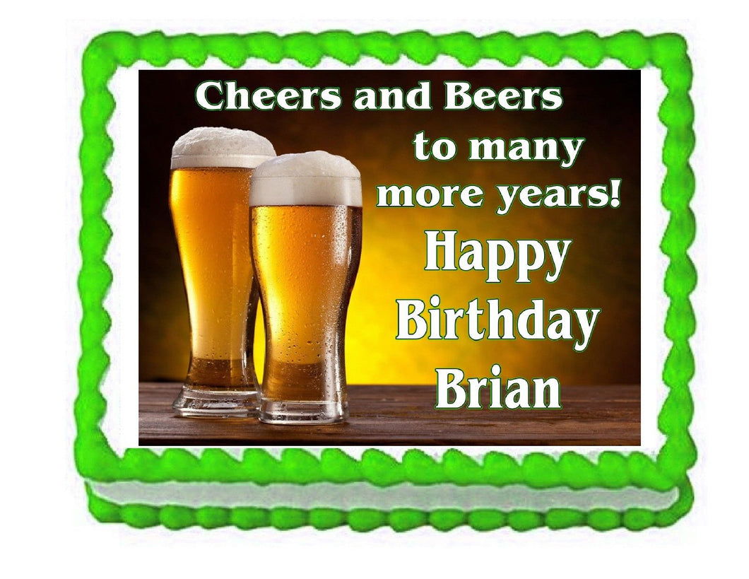 Beers and Cheers Edible Cake Image Cake Topper - Beer Theme - Cakes For Cures