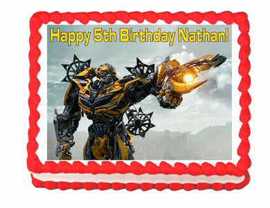 Transformers Bumblebee edible party cake topper cake image sheet decoration - Cakes For Cures