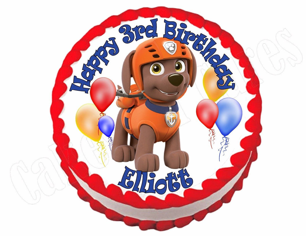 Paw Patrol Zuma Round Edible Cake Image Cake Topper - Cakes For Cures