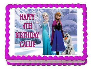 Frozen Elsa, Anna and Olaf Edible Cake Image Cake Topper - Cakes For Cures