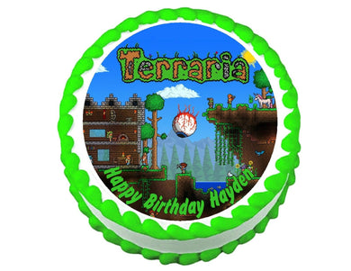Terraria Gaming Round Edible Cake Image Cake Topper - Cakes For Cures