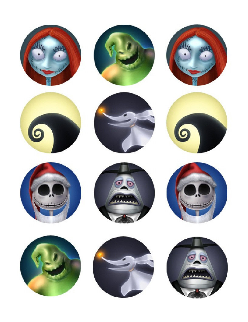 Nightmare Before Christmas Edible Cupcake Images - Cupcake Toppers - Cakes For Cures