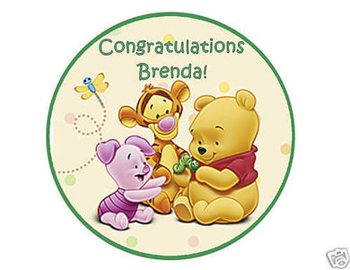 Baby Pooh Round Edible Cake Image Cake Topper Birthday or Baby Shower - Cakes For Cures