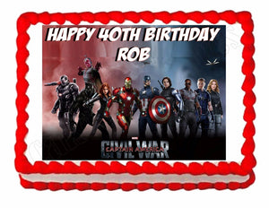 Avengers Civil War Edible Cake Image Cake Topper - Cakes For Cures